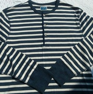 Men's J Crew Striped Henley Shirt Medium